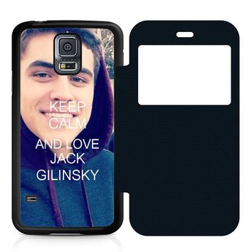 Keep Calm and Love Jack Gilinsky Leather Wallet Flip Case Samsung Galaxy S5