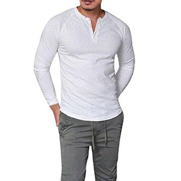 BCDshop Fashion Men's Slim Fit Henley Long Sleeve Muscle T-shirt Casual Tops Blouse (White, L)