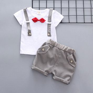 Summer Fashion style newborn baby boy cloth gentleman short sleeve suit infant baby boys Birthday costume for baby clothing sets