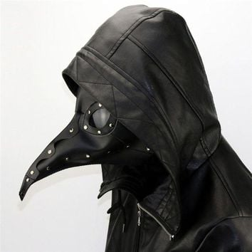 LMFON New Dr. Beulenpest Steampunk Plague Doctor Mask Beak Masks Steampunk Black PU Birds Halloween Art Cosplay Carnaval Costume
