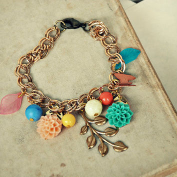ON SALE Jessica. a vintage inspired charm bracelet.