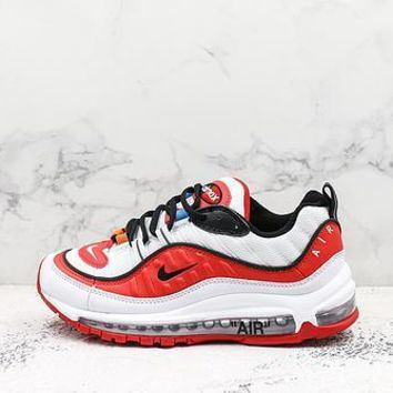 Off-white X Nike Air Max 98 White Red Black