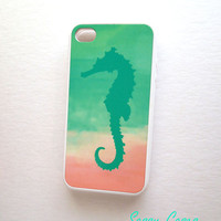 Mint and Pink iPhone 4 / 4S Case  iPhone Cell Phone Cases Mint Seahorse iPhone Case Sale