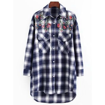 Sequined Floral Patched Plaid Shirt 4770