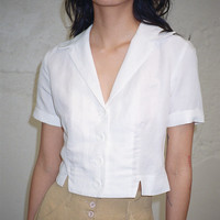 SIDE PARTY | Lala Fitted Notched Shirt - White