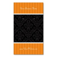 Custom Earring Cards Orange Black Damask Stripes