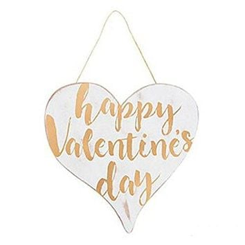 Gold and White Valentine's Day Heart Shape Sign