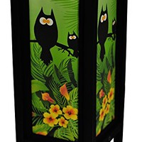 Decorative Lamp Thai Vintage Handmade Asian Oriental Owl Collection Bedside Table Light Floor Wood Paper Lamp Shades Home Bedroom Garden Decoration Modern Design by I Love Handicraft (Summer Green)
