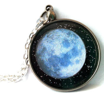 Moon Necklace, Full Moon Necklace, Full Moon Pendant, Space Pendant, Celestial Jewelry, Wolf Moon Necklace, Outer Space Necklace, Moon