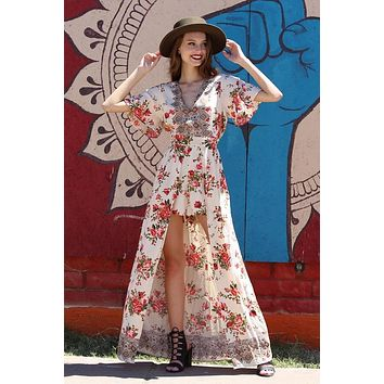 2018 Spring Women's Cream Rose With V Neck  Floral Maxi Romper With Surplus the New Misses Line