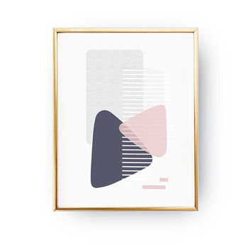 Minimal Poster, Textured Wall Art, Purple Pink Artwork, Geometric Painting, Pastel Decor, Geometric Shapes, Abstract Poster, Simple Design