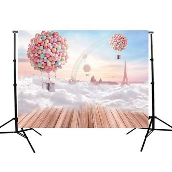 7x5ft Backdrop Balloon Board Rainbow Photography Background Backdrop cloth Studio Photo Props Durable 2.1x1.5m light weight