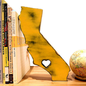 California with a Heart (Pictured In Mustard) Wooden State Cottage Chic State Map Wooden Home Decor Wedding Guest Book Photo Prop Rustic