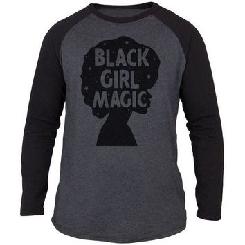 PEAP1N Black History Month Black Girl Magic Afro Adult Long Sleeve Raglan T-Shirt