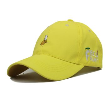 Yellow Fresh Fruit Embroidered Baseball Cap Hat