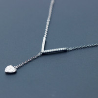 "Personalized  ""V"" shape and heart' pendant 925 sterling silver necklace, a perfect gift"