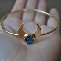 MOONBEAM WARRIOR  /// Lux Divine Bangle Style Gemstone Bracelet /// Gold dipped /// Druzy