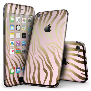 Pink Gold Flaked Animal v5 - 4-Piece Skin Kit for the iPhone 7 or 7 Plus
