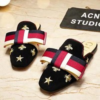 GUCCI New fashion embroidery bee star stripe Bow shoes slippers women Black