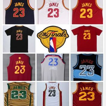 2017 Final Patch 23 LeBron James Jersey Blue White Red Yellow St. Vincent Mary High School Irish LeBron James Basketball Jerseys Throwback