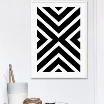 Black and White Stripes Print, Geometric Print, X, x, Printable Art, Black And White, Geometric Poster, Scandinavian, Affiche Geometrique