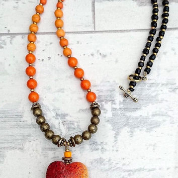 Orange bead necklace, orange heart necklace, boho necklace, valentines gift, beaded necklace, bright necklace, orange and black,