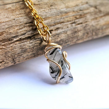 Rutilated Quartz Necklace made in Hawaii, wire wrapped black & white semi precious gemstone jewelry