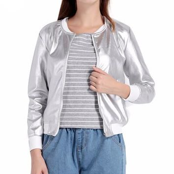 Gleam On Metallic Silver Bomber Jacket
