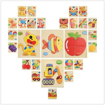 DCCKL72 3D Puzzle Wooden Toy Jigsaw For Children Cartoon Animal Cars Fruit Fish Puzzle Intelligence Kids Educational Toys