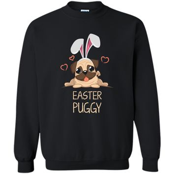 Easter Pug Shirt Bunny Ears Costume Cute Gift Women Kids1 Printed Crewneck Pullover Sweatshirt 8 oz