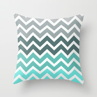 Tiffany Fade Chevron Pattern Throw Pillow by RexLambo