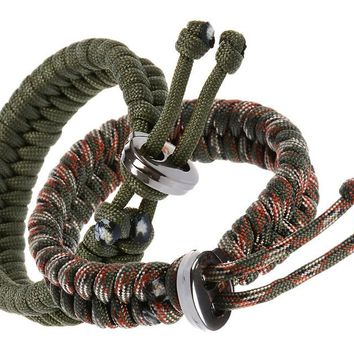 Bundle of 2 Premium Fish Tail 350 lb Paracord Survival Bracelets With Metal Clasp (custom size and color)