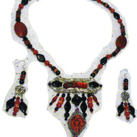 Carved Cinnabar, Crocheted Wire & Filigree Wrap Oriental Necklace/Earrings Set
