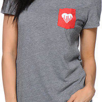 Glamour Kills x AWG Heart Logo Grey Pocket Tee Shirt