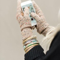 Knitted Texting Gloves - Confetti Taupe