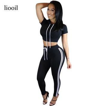 DCCKU62 2017 New Style Women Bodycon Cotton Jumpsuit Summer Long Solid Hooded Short Sleeve Two Piece Rompers Sexy Jumpsuits