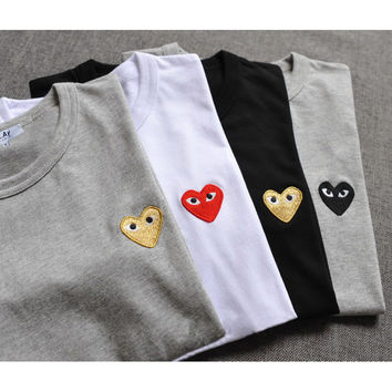 2016 Hot Sale Men Women Couple Tee Shirt France&Japan Cooperation Brand Comme Des Garcons CDG Play Cotton Heart Men T Shirt