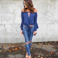 You Can't Date Me Keyhole Off The Shoulder Top - Navy