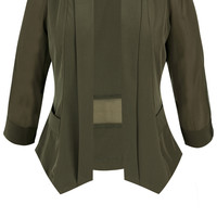 Shop Women's Plus Size Women's Plus Size Drapey Blazer Jacket - Olive | City Chic USA