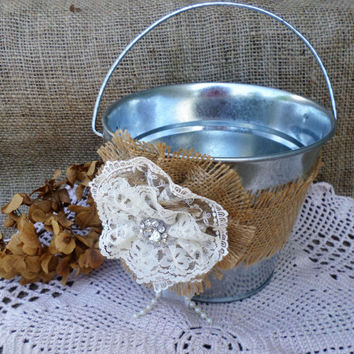 Rustic Wedding Flower Girl Bucket, Basket,Table Centerpiece, Rustic Decor
