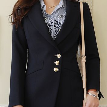 Classy Slim Fit Gold Button Jacket