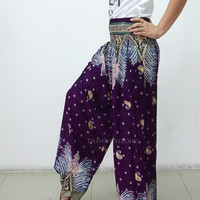 Beauty Feathers Boho Hippie Baggy Pants/ Harem Pants/ Aladdin Pants/ Genie Pants for Unisex (Dark Purple)