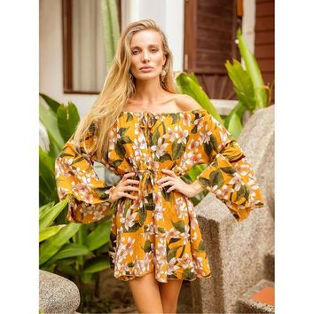 Yellow Off Shoulder Long Sleeve Floral Print Mini Dress