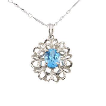 Oval blue topaz sterling silver necklace