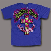 Sweet Thing Funny Amazing Grace Cross Neon Girlie Bright T-Shirt