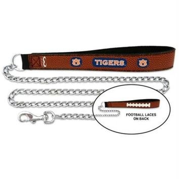 DCCKT9W Auburn Tigers Football Leather and Chain Leash