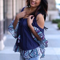 Too Hot To Handle Cut Out Top (Navy)