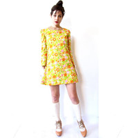 laugh in. vintage 60s bright & sunny floral mini dress with bell sleeves. size small/medium