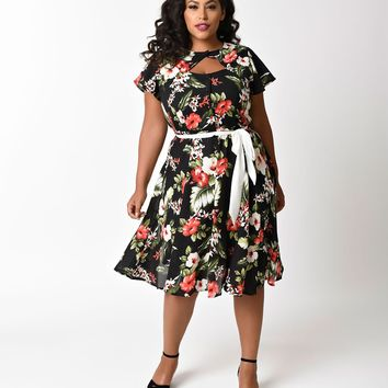Unique Vintage Plus Size 1940s Black Hawaiian Florals Ashcroft Short Sleeve Swing Dress