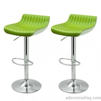 Adeco Glossy Counter Bar Stools, Set of 2, Green - ch0139-4